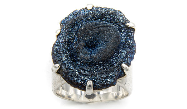 925 Silver Blue Drusy Stone Adjustable Ring second img