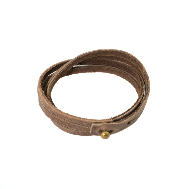 Rustic Brown Top Grain Leather Wrap Bracelet