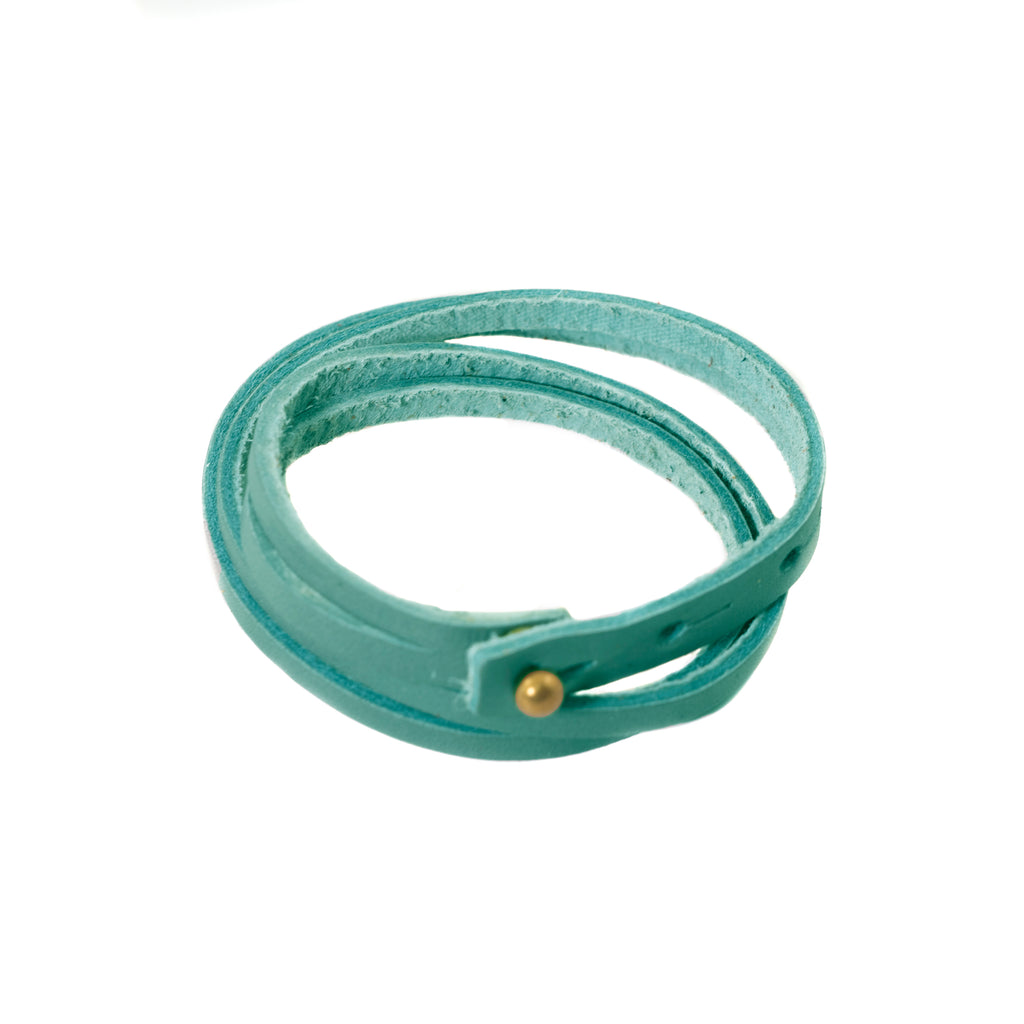 Aqua top grain leather wrist band