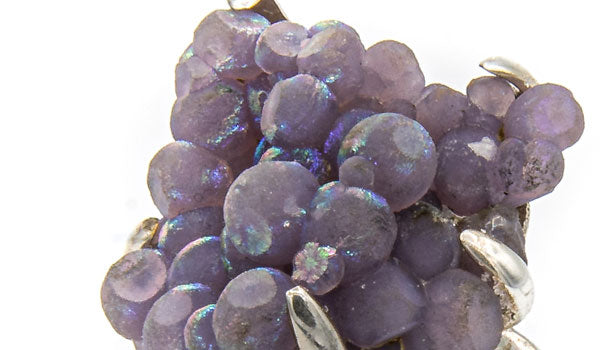 Sterling Silver Iridescent Grape Chalcedony Adjustable Ring close up img