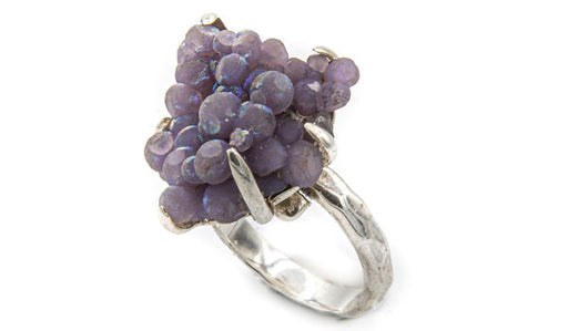 Sterling Silver Iridescent Grape Chalcedony Adjustable Ring featured img