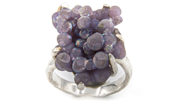 Sterling Silver Iridescent Grape Chalcedony Adjustable Ring second img