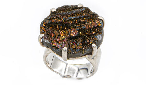 Sterling Silver Chocolate Drusy Stone Adjustable Ring
