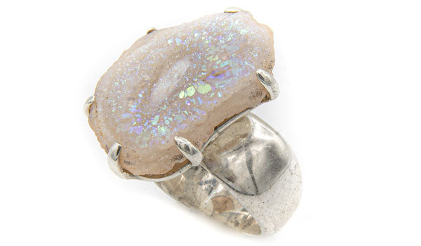 Sterling Silver Crystal quartz drusy adjustable ring