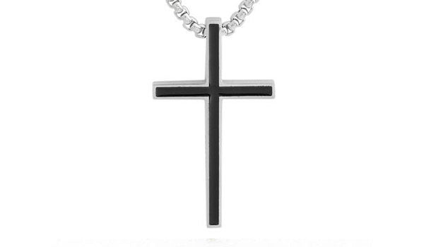 sleek silver and black cross necklace close up  img