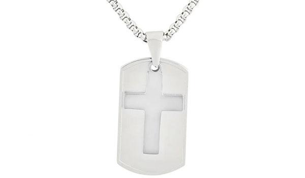Silver Dog Tag and Cross Pendant Necklace feature img