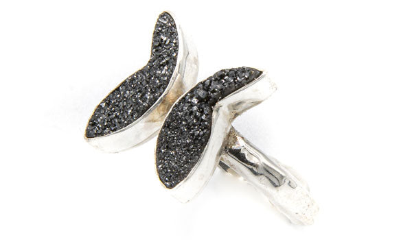 Sterling Silver Black Drusy Butterfly Adjustable Ring feature img