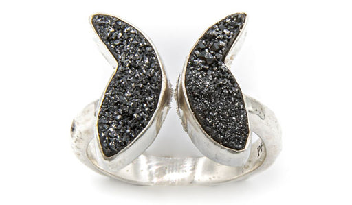 Sterling Silver Black Drusy Butterfly Adjustable Ring second img