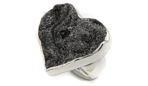 Sterling Silver Black Drusy Heart Adjustable Ring feature img
