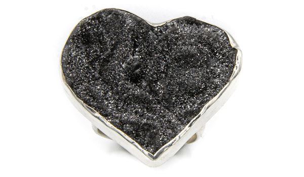 Sterling Silver Black Drusy Heart Adjustable Ring second img