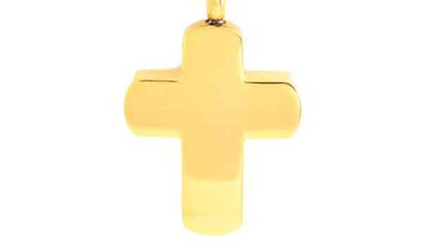 gold cross necklace close up img