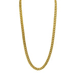 Gold Stainless Steel Brazilian Chain Necklace 24 Inches in Length Lobster Claw Clasp