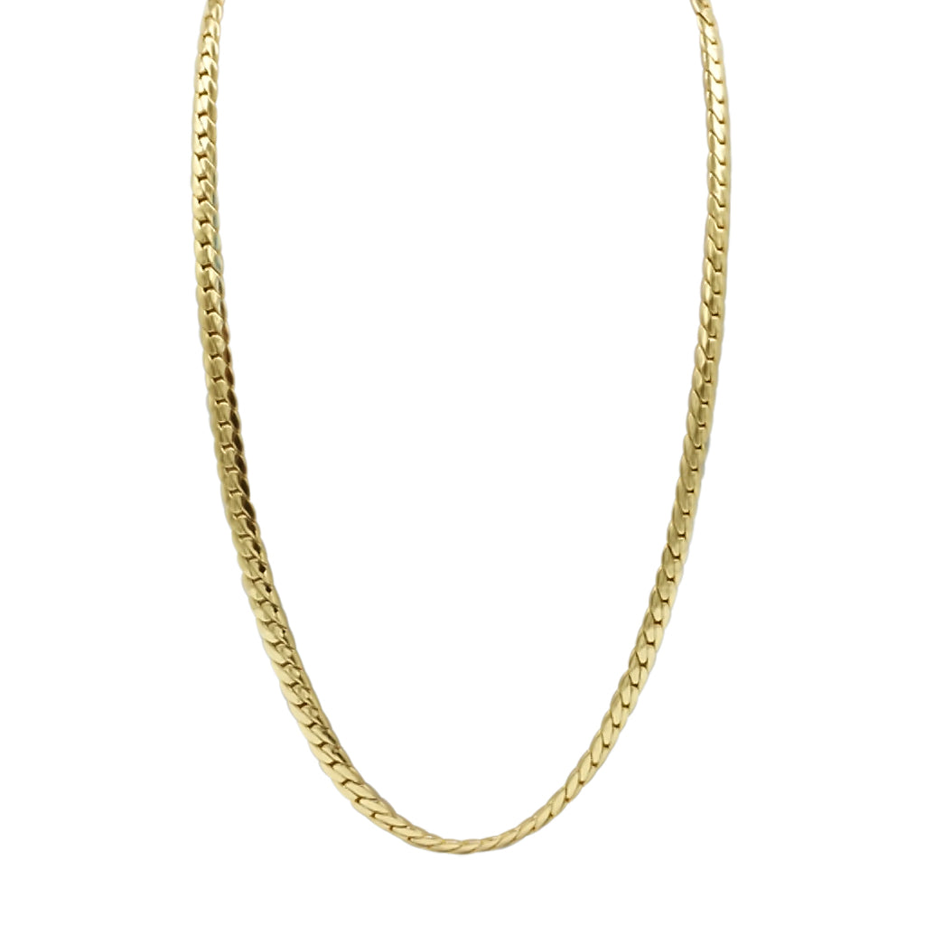 gold stainless steel herringbone chain necklace with a lobster claw clasp. 24 inches in length and 4mm wide
