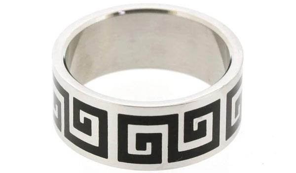 silver and black greek key ring feature img