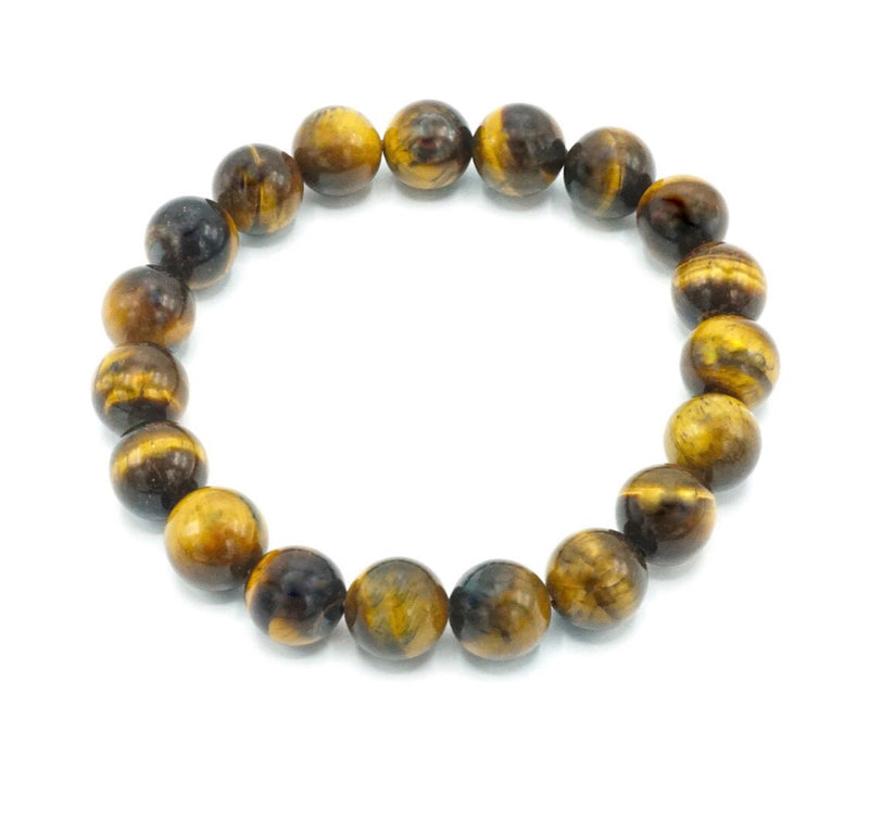 10mm- Tirger eye- Natural Stone Bracelet- Gloss Finish