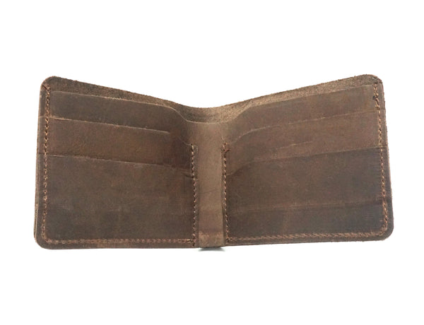 Brown Top Grain Leather Bifold Wallet handcmade by PlayHardLookDope