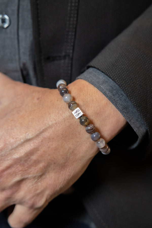 Man Wearing Botswana Agate beaded bracelet.