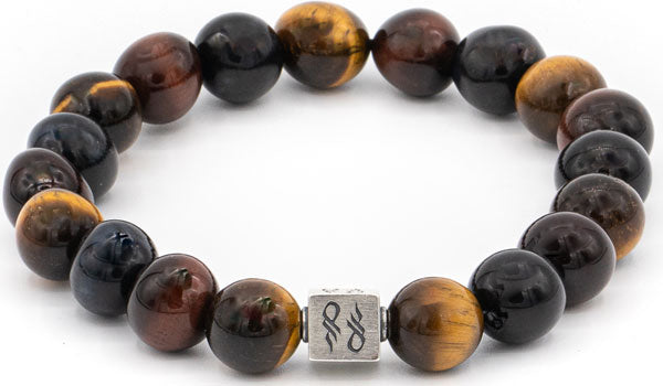 Multicolor tigers eye gemstone centerpiece bracelet.