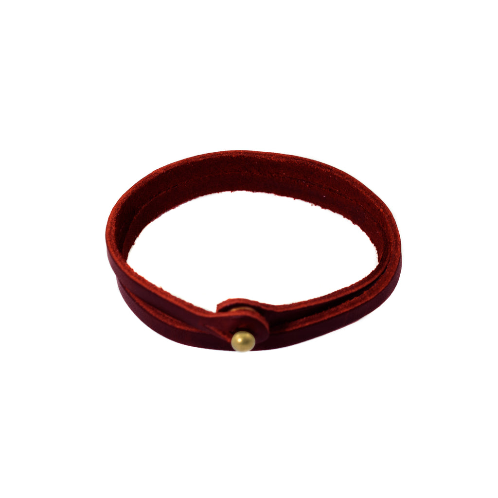 Merlot Skinny Top Grain Leather Wrap Bracelet