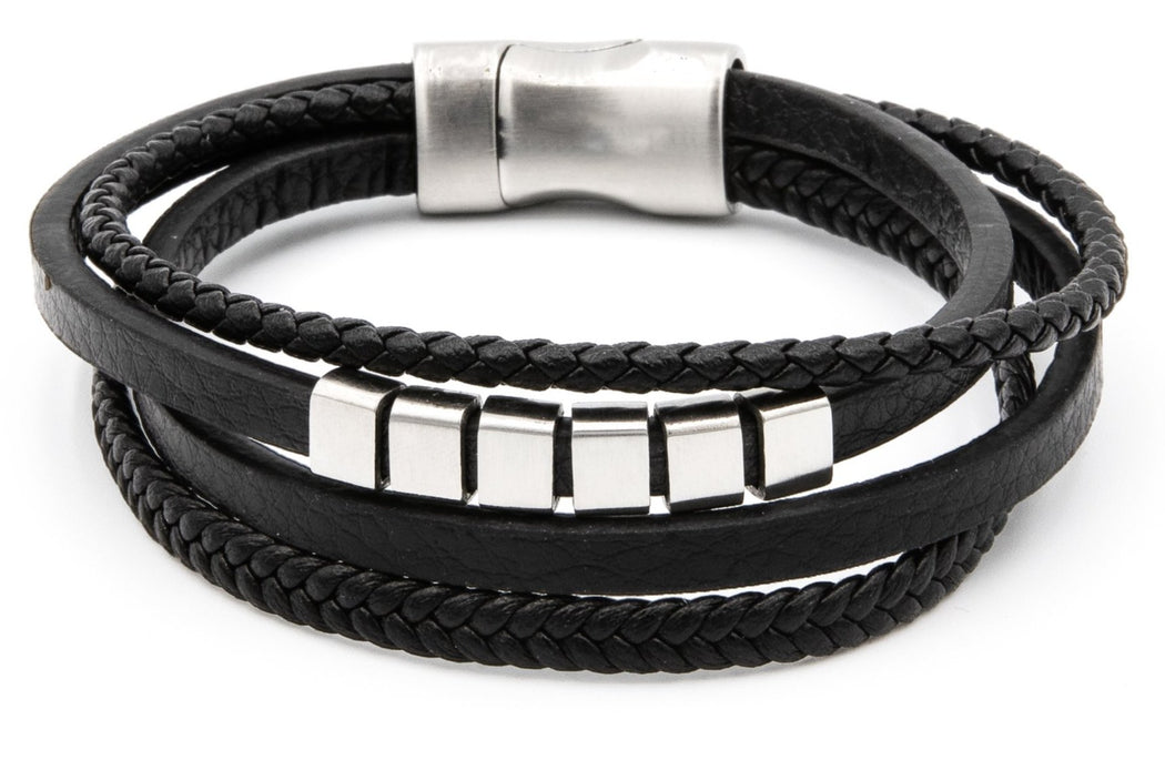 Black Leather Wrap Bracelet with pleated squares at the center