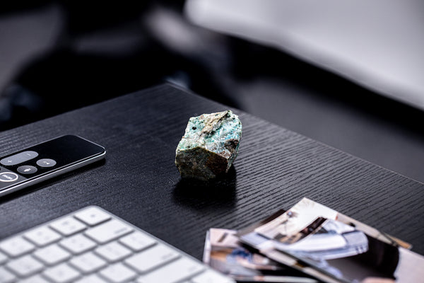 Chrysocolla Sitting on desk.