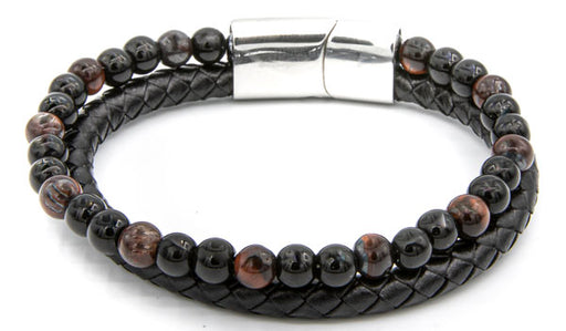 Red Tigers Eye Natural Stone Leather Stack Bracelet featured img