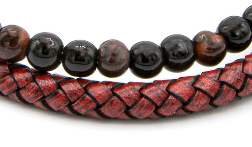 Red Tigers Eye Natural Stone Red Leather Stack Bracelet close up img