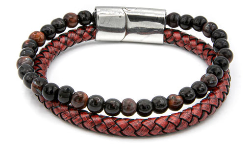 Red Tigers Eye Natural Stone Red Leather Stack Bracelet feature img