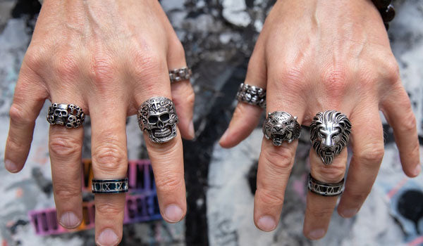 Assorted skull head ring lifestyle img 2
