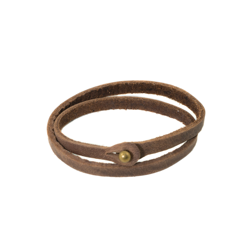 Skinny Brown Top Grain Leather Wrap Bracelet