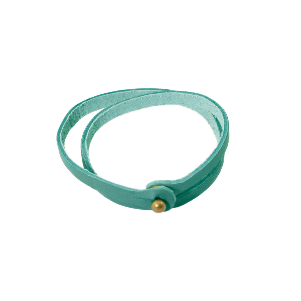 Aqua skinny top grain leather wrap bracelet