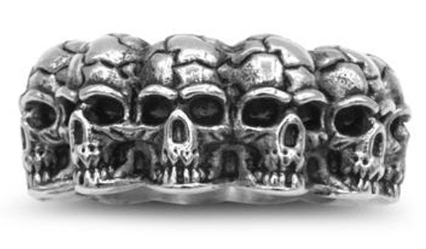 silver skull band ring second img