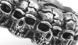 silver skull band ring close up img