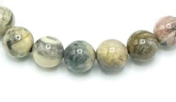 silver leaf jasper 6mm natural stone bracelet close up photo