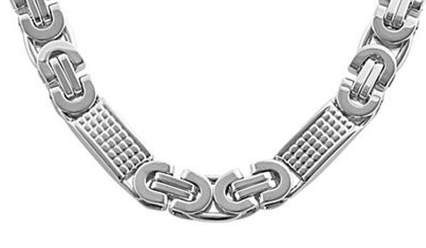 silver mix link chain close up img