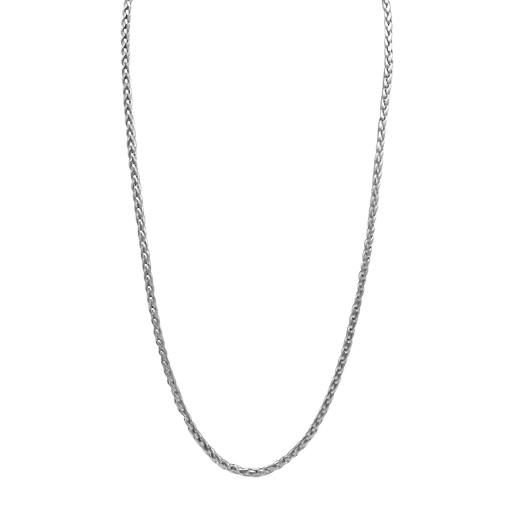 Silver 24'' 2mm Venetian Link Chain Necklace in Stainless steel with a lobster claw clasp handcrafted