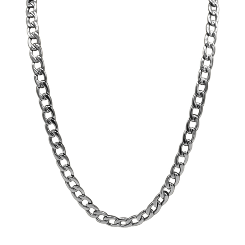 silver stainless steel 24'' curb chain necklace ( 4mm )