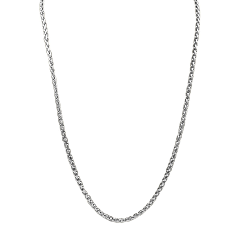 Silver 24'' 4mm Venetian Link Chain Necklace in Stainless steel with a lobster claw clasp handcrafted