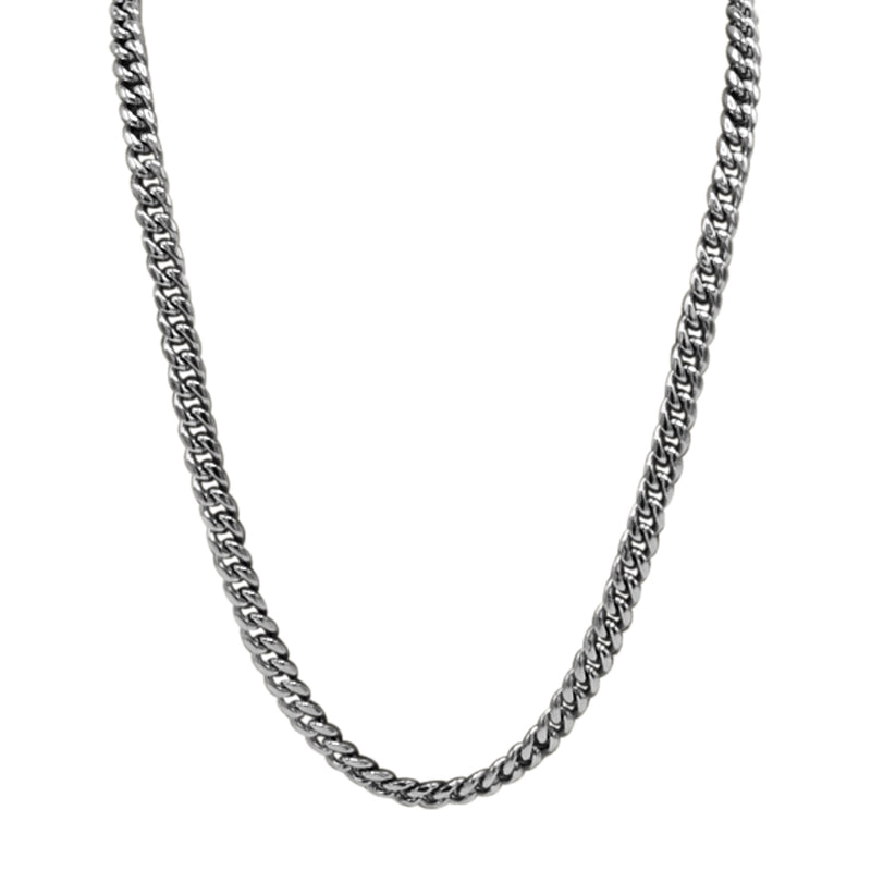 Silver stainless steel 5mm gourmette chain 24 inches in length