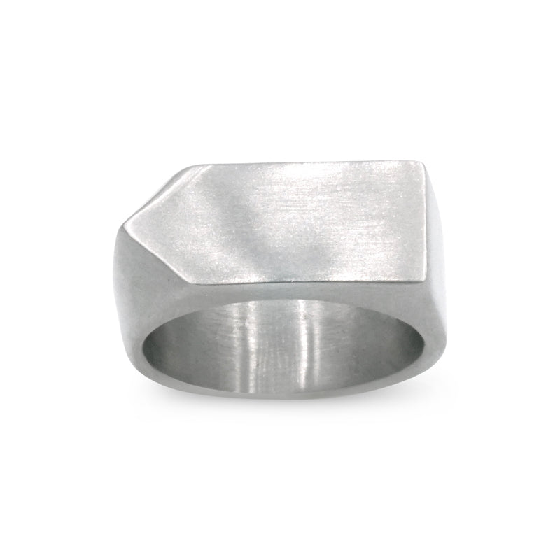 silver stainless steel arrow shaped ring