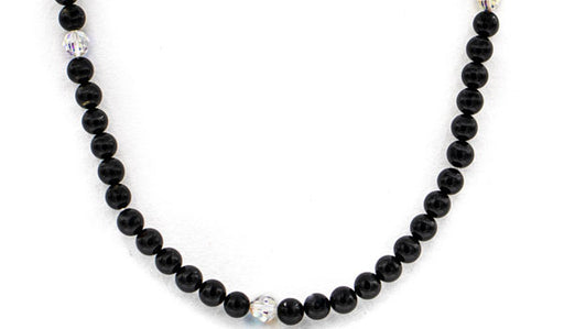 Black tourmaline and swarovski crystala bead necklace feature img