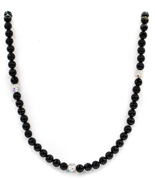 Black tourmaline and swarovski crystal necklace full length