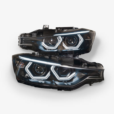 F30 Halogen Projector Vision Headlights (Complete Units, No Core Required) Fits Halogen equipped 3 series 2012 - 2017 sedan wagon