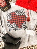 Texas Buffalo Plaid Glitter Sweatshirt