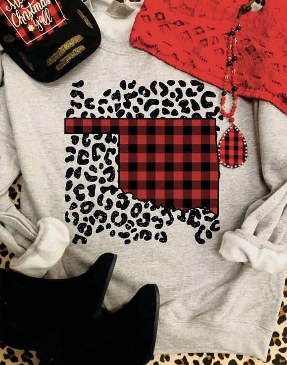 Oklahoma Buffalo plaid State Sweatshirt