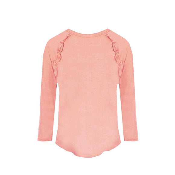Girls peach ruffle long sleeve