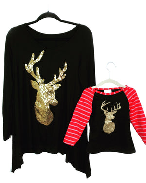 GOLD REINDEER HOLIDAY TOP