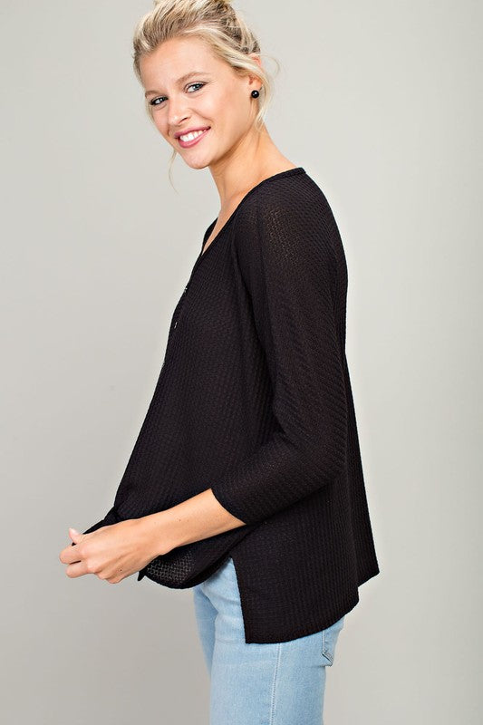 The Victoria Tie Front Thermal Top