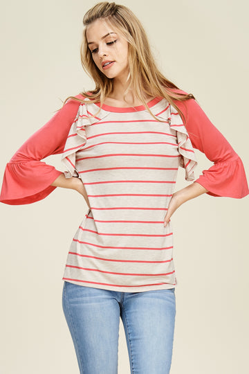 The Allison striped ruffle bell sleeve top (coral)