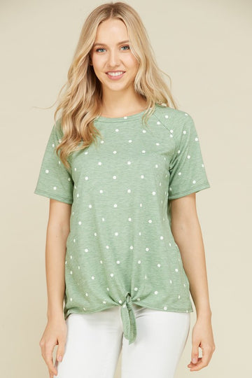 The Amelia Raglan Short Sleeve Polka Dot Top